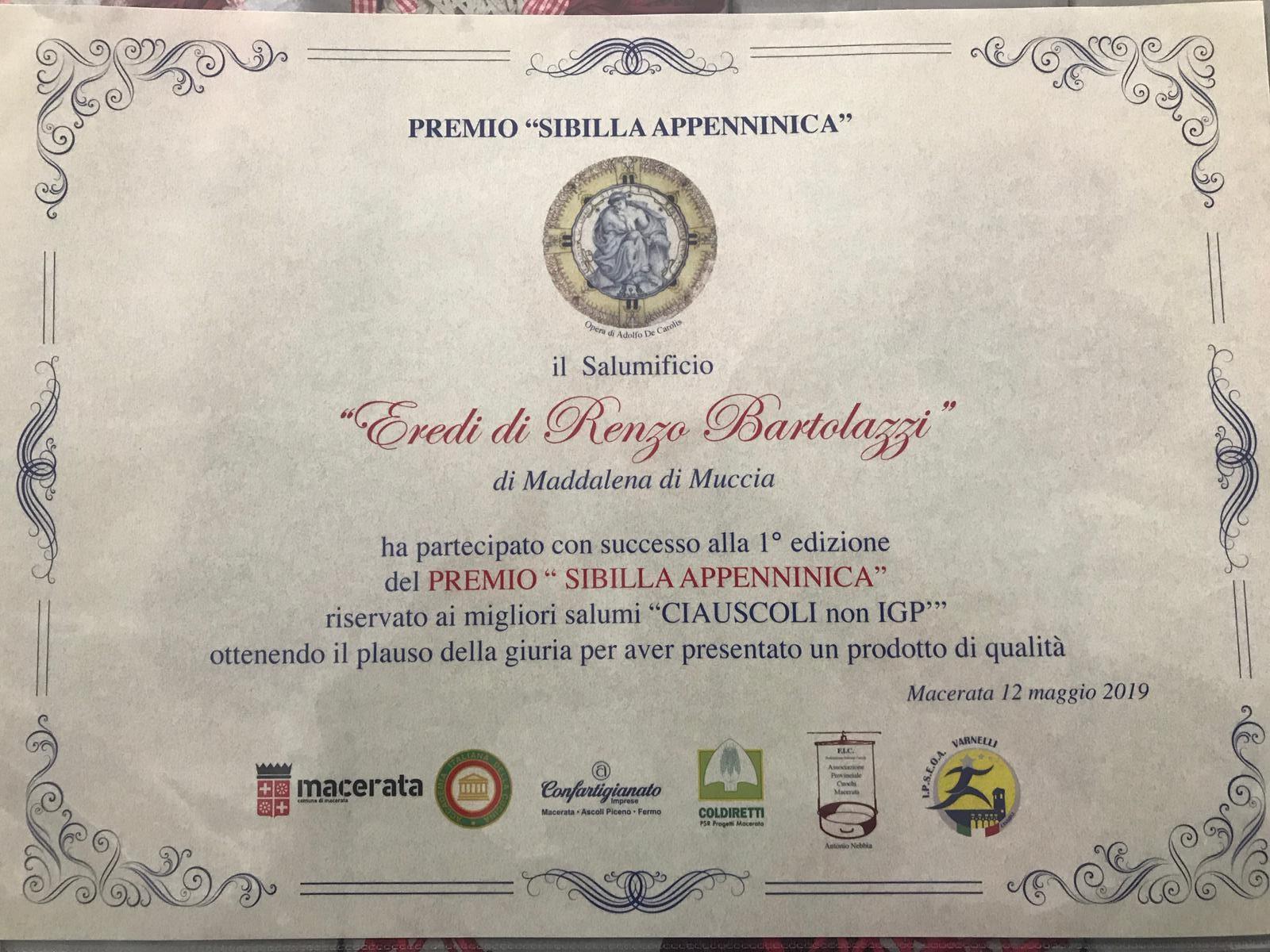 Premio ciauscolo non igp